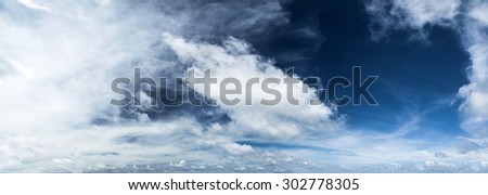 Cloudy sky panorama. Summer background - stock photo