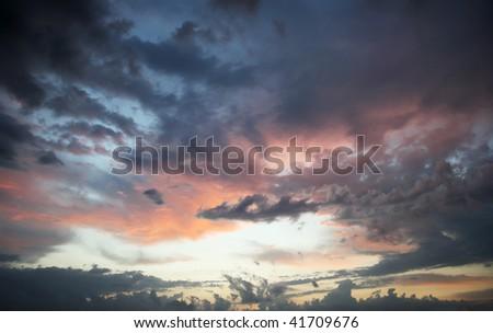 Cloudy sky, sunrise, texture, background - stock photo