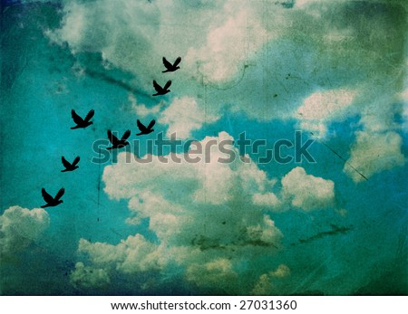 cloudy sky with birds over vintage background paper - stock photo