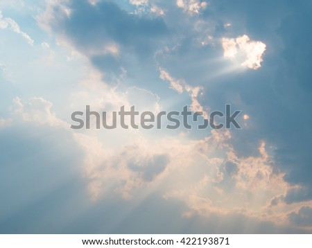 Cloudy Sky with Sunshine After Rainy in Summer - stock photo