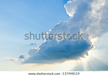 Cloudy Stormy sky, A New Day, High Altitude Dawn - stock photo
