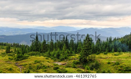 Cloudy summer Carpathian mountains landscape. Chornogora ridge, Ukraine, Europe