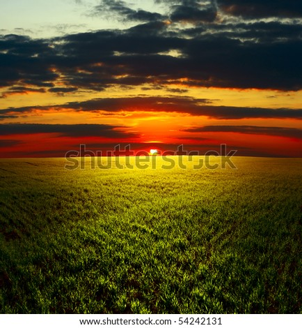 Cloudy sunset over field with grass