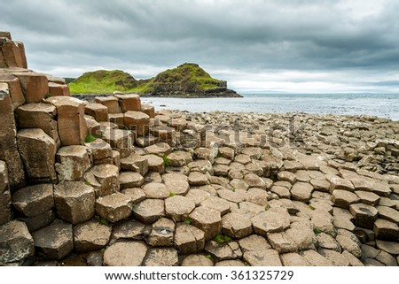 Cloudy weather at Giant's Causeway (Giants Causeway), Antrim, Northern Ireland, United Kingdom - stock photo