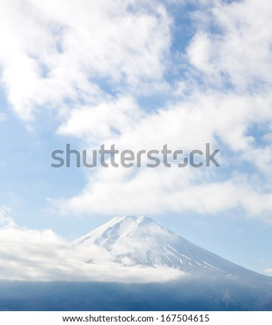 Cloudy with Mountain Fuji fujisan at Yamanashi Japan