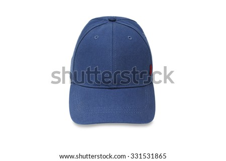 Clouse up of blue hat isolated on white background - stock photo