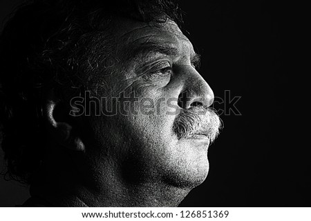 clouse-up of middle aged man, black and white - stock photo
