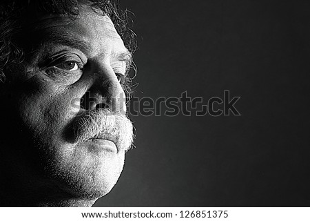clouse-up of middle aged man, black and white