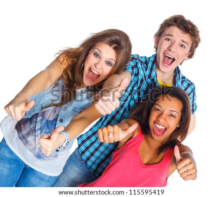 Clouse up portrait of three young teenagers laughing. Isolated on white background.
