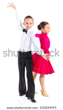 Clouseup portrait of young ballroom dancers in formal costumes posing. Isolated on white background - stock photo