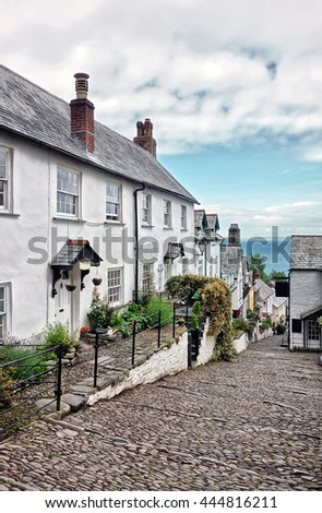 Clovelly, Devon, England. Cobbled streets and cottages in the historic fishing village of Clovelly. - stock photo