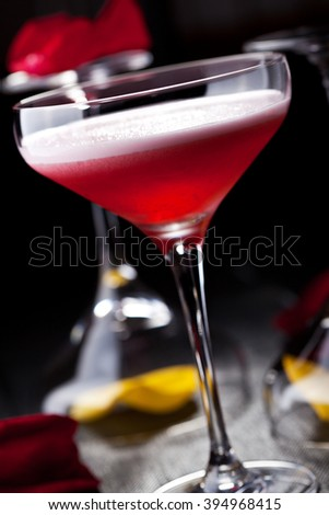 Clover Club Cocktail - Gin, Raspberry Syrup, Lemon Juice, Egg White and Sugar Syrup - stock photo