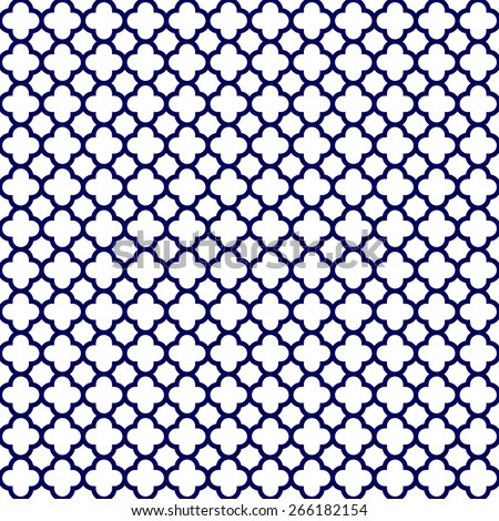 Cloverleaf Quatrefoil Lattice Pattern With Navy Blue On A White Background This Is