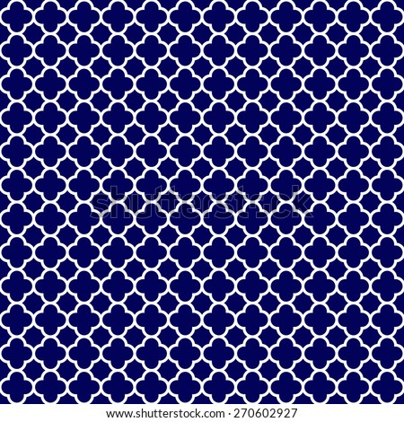 Cloverleaf Quatrefoil Lattice Pattern With White Gothic On A Navy Blue Background This Is