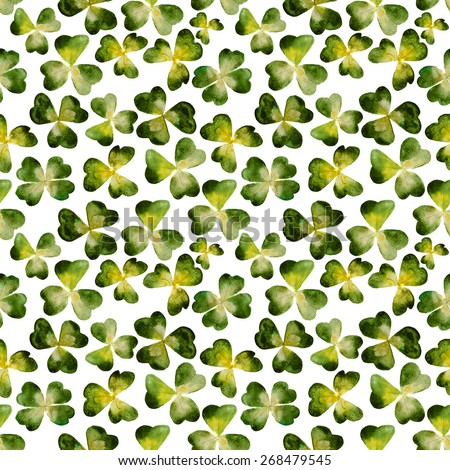clovers pattern - find the clover with 4 leaves for luck, hand-painted watercolor - stock photo