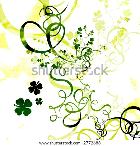 Clovers, St. Patrick's day background illustration - stock photo