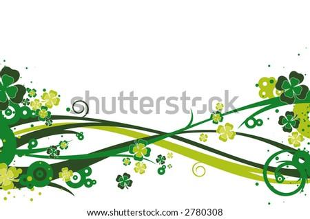Clovers, St. Patrick's day background illustration - stock photo