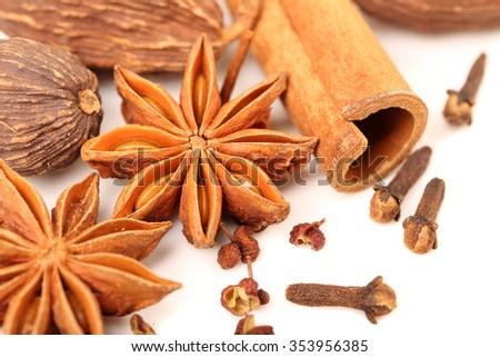 Cloves, anise and cinnamon - stock photo