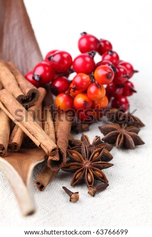Cloves, anise and cinnamon with Christmas decorations. Shallow dof - stock photo