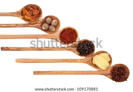 Cloves, ginger, saffron, nutmeg, star anise and mace spice in olive wood spoons over white background.