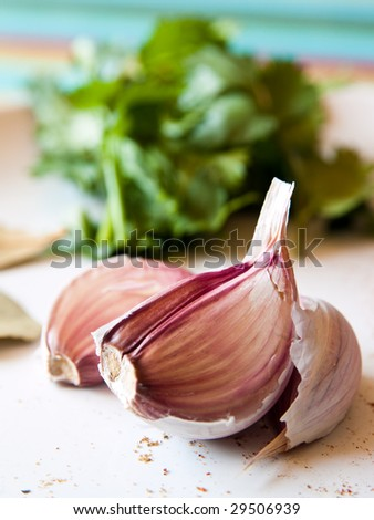 Cloves of Garlic, Herbs and Spices on a white plate. - stock photo