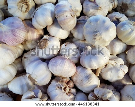 Cloves of garlic sold in a market - stock photo