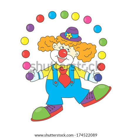 Clown. Cartoon funny clown with colorful balls. Clown juggles. Circus. Holiday. - stock photo