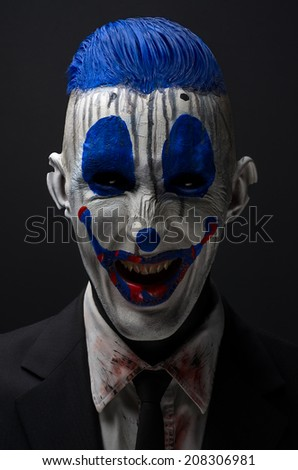 Clown crazy zombies blue in a jacket - stock photo