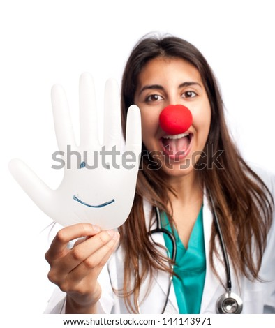 clown doctor having fun isolated on white background