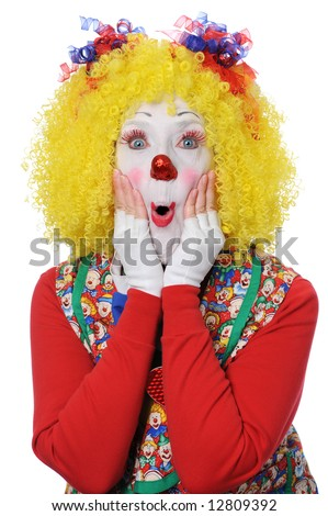 Clown expressing surprise isolated over a white background - stock photo