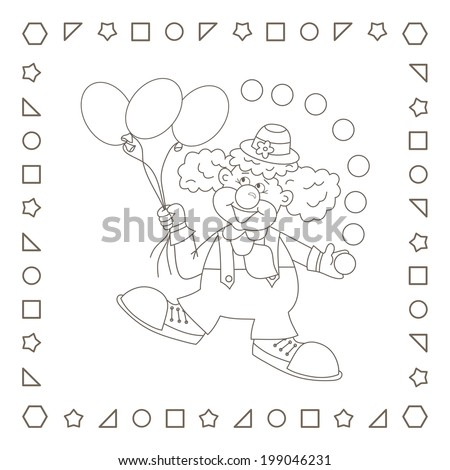 Clown. Funny cartoon clown with balloons and balls.  Coloring page. Coloring book. - stock photo