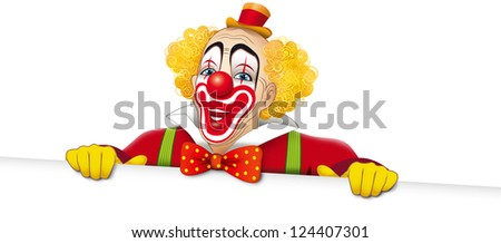 clown holding a blank sign - stock photo