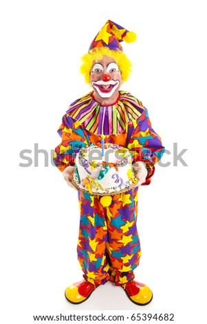 Clown holding birthday cake.  Full body isolated on white.