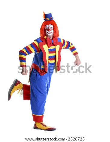 Clown Holding Your Product - stock photo