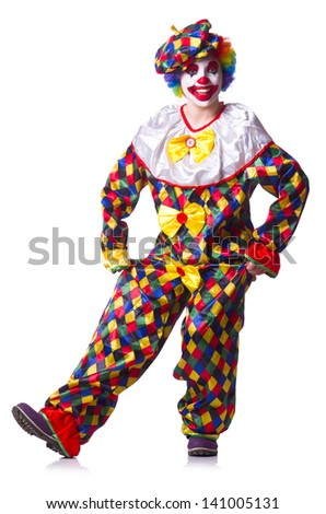Clown in the costume isolated on white - stock photo