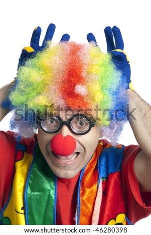 Clown male with funny glasses on white isolated