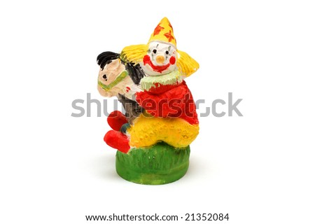 Clown on horse, clay toy - stock photo