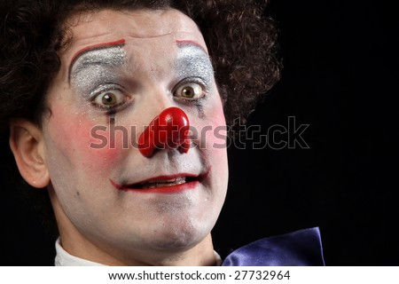 Clown portrait with red nose - stock photo