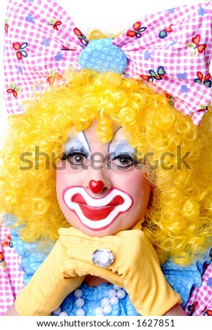 Clown Resting Her Chin on her Hands - stock photo