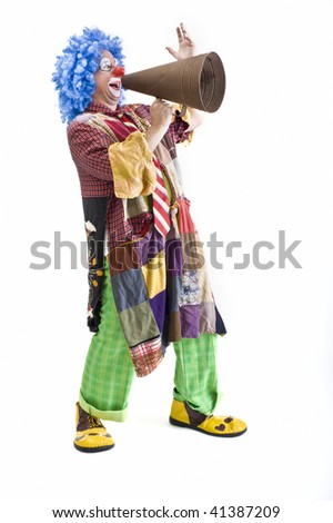 clown shouting on megaphone isolated on white - stock photo
