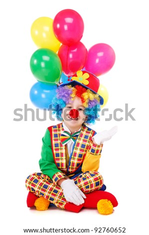 Clown sitting on the floor : white background - stock photo