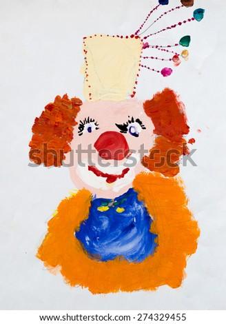 Clown, watercolor drawing - stock photo