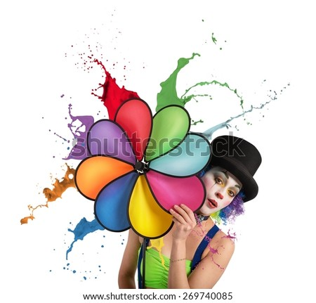 Clown with a helix rainbow colored dripping - stock photo