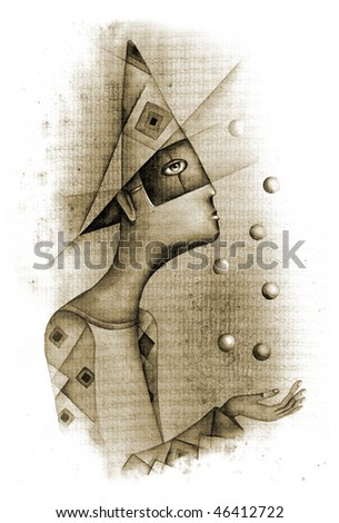 Clown with balls - stock photo