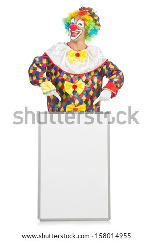 Clown with blank board on white - stock photo