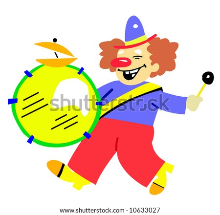 clown with drum - stock photo