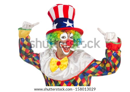 Clown with hat and american flag