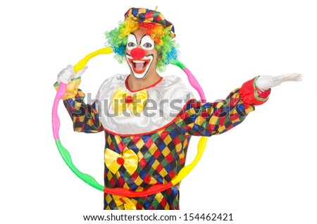 Clown with hula hoop isolated on white - stock photo