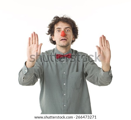Clown With Red Nose In Pantomime. - stock photo