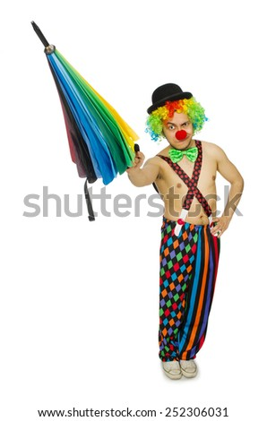Clown with umbrella isolated on white - stock photo